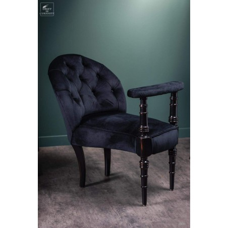 Black velvet casino armchair