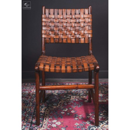 Wood and braided leather chair