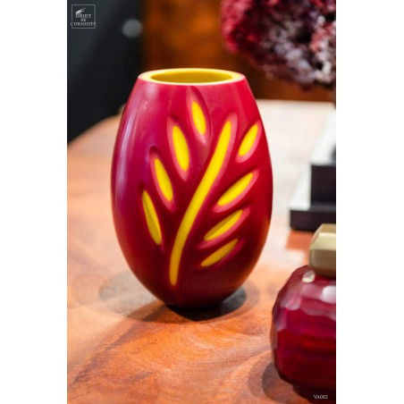 Picasso leaf, red and yellow vase