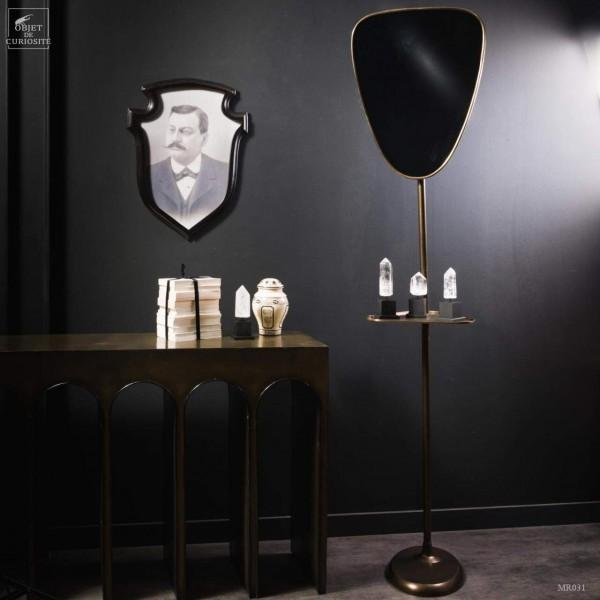 Standing mirror - antique brass