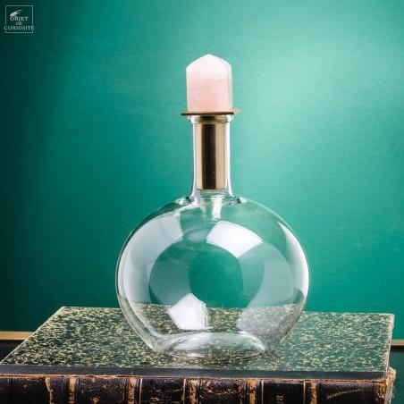 Carafe ronde, bouchon quartz rose