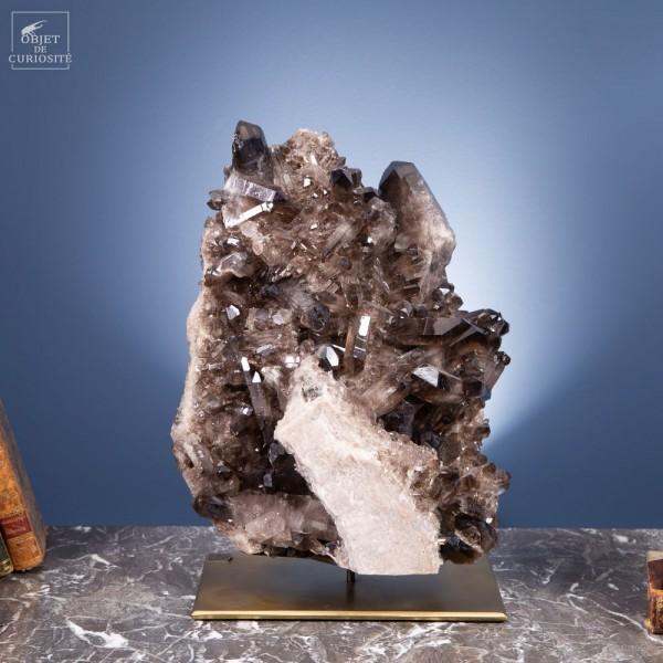 Black crystal cluster (11kg) on brass...