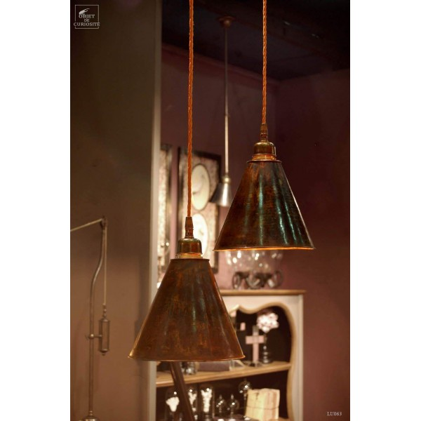 Small copper shade with antic cable