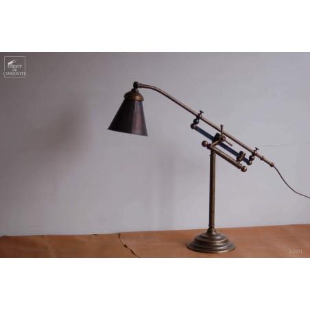 Lampe de bureau laiton à crémaillère