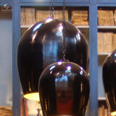 Lustre oeuf TGM noir/ intér. doré 72X72X74cm 2.,5m de fil