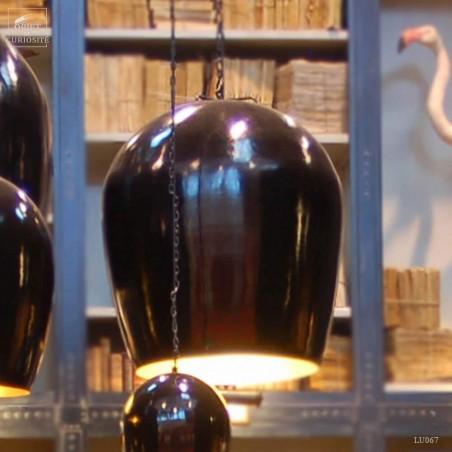 Lustre oeuf GM noir/ intér. doré 63X63X66cm 2.5m de fil