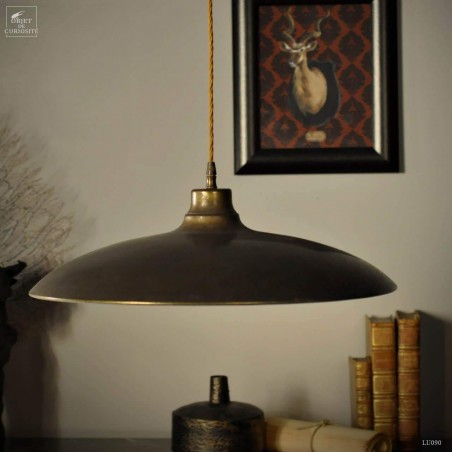 Large industrial style hanging lamp in brass