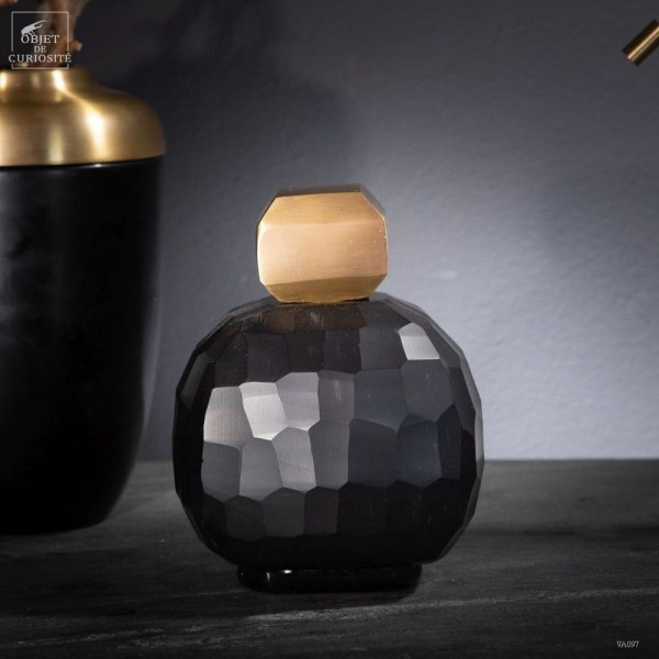 Black grenade vase with brass stopper