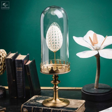 Sculptured egg of goose under glass, brass base