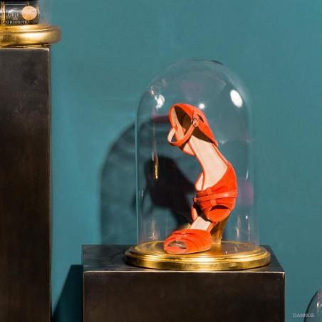 Glass bell jar on gold leaf base