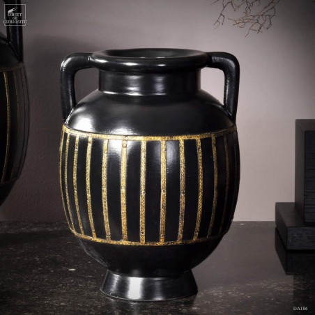 Black wood and brass vase (Small)