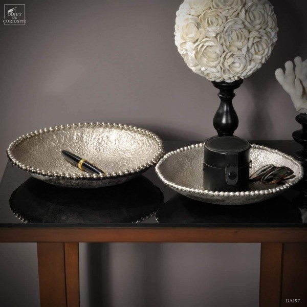 Set of 2 bowls with pearls -silver plated.