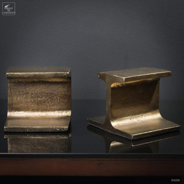 Industrial book end - brass finish