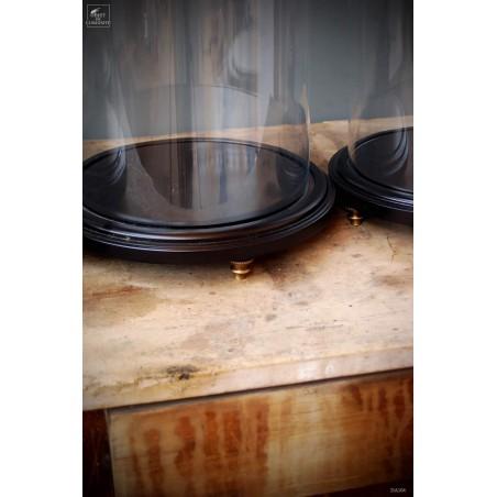 Glass globe on base wood