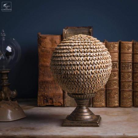 Nassarius shell ball on brass stand L