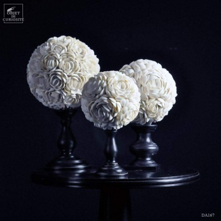 white Anadora shells sphere on stand (medium)