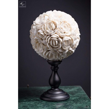 white Anadora shells sphere on stand (large)