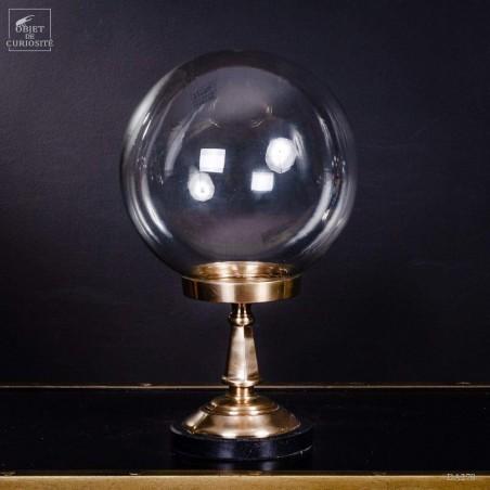 Globe verre sur pied laiton et marbre