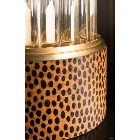 Photophore tubulesque laiton antique, motifs léopard