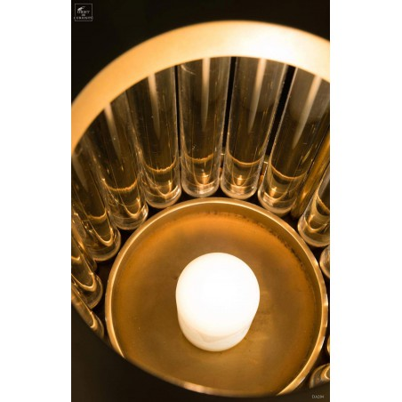 Brass and glass candle holder, leopard pattern