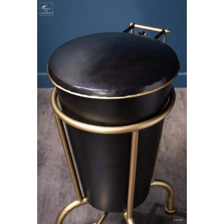 Poubelle steampunk à pédale finition noir et laiton