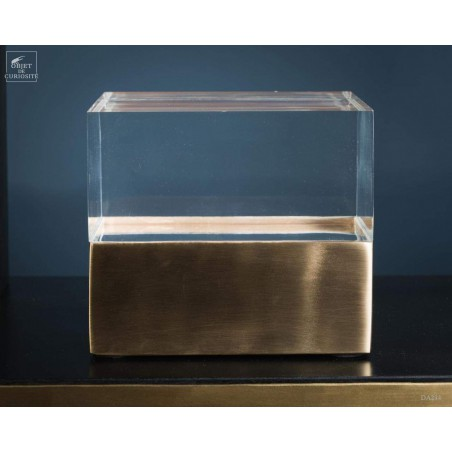 Satin brass and acrylic glass square box