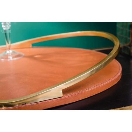 Plateau oval cuir et laiton