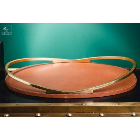 Brass and leather oval tray