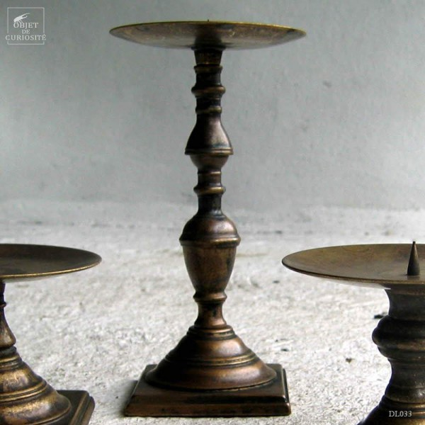 Solid brass candlestick holder 21cm