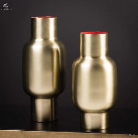 Bulge vase, satin brass red inside -L-
