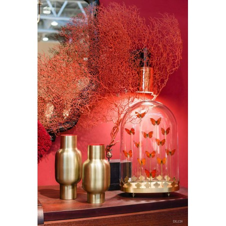 Bulge vase, satin brass red inside -Small-