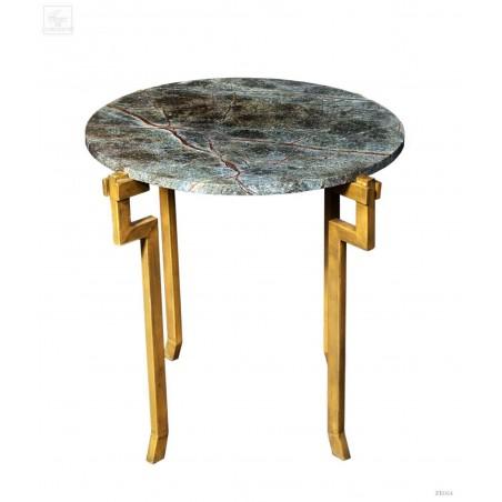 Green marble top  & golden iron base table