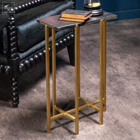 Black marble table with brass feet