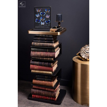 Black and brass sofa side standing bookcase