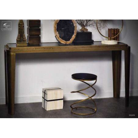 Console avec rivets plateau bois noir152cm