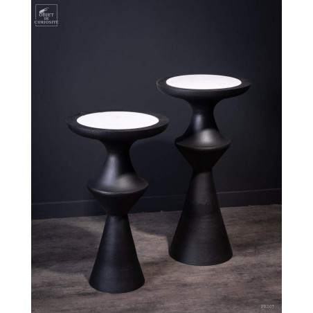 Black side table with marble inlay  (L)