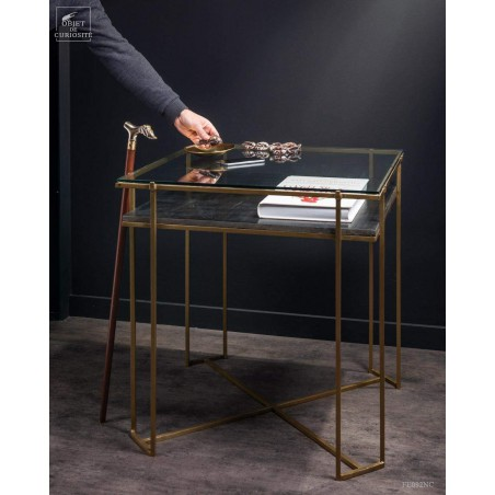 Display square table with black marble and glass