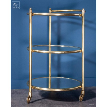 Round brass and glass trolley