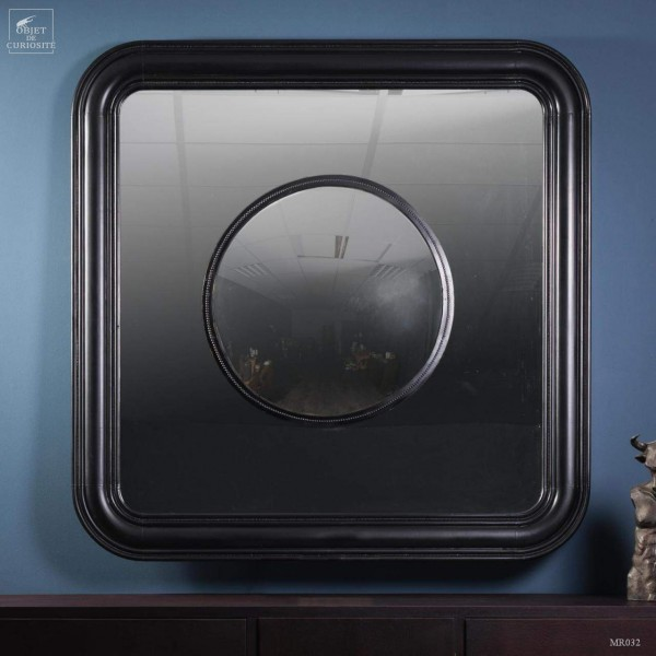 Round convex mirror in square regular mirror
