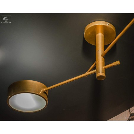 Low ceiling two arms brass chandelier