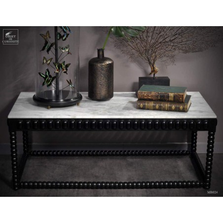 Black coffe table with white marble top