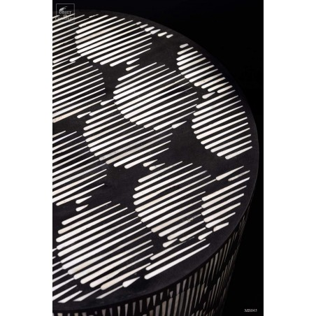Side table, bone inlay in black resin.
