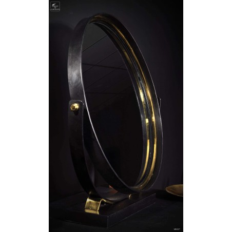 Round table mirror black and brass