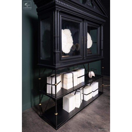 Real Henri II,  2 glass door display on wrought iron stand.